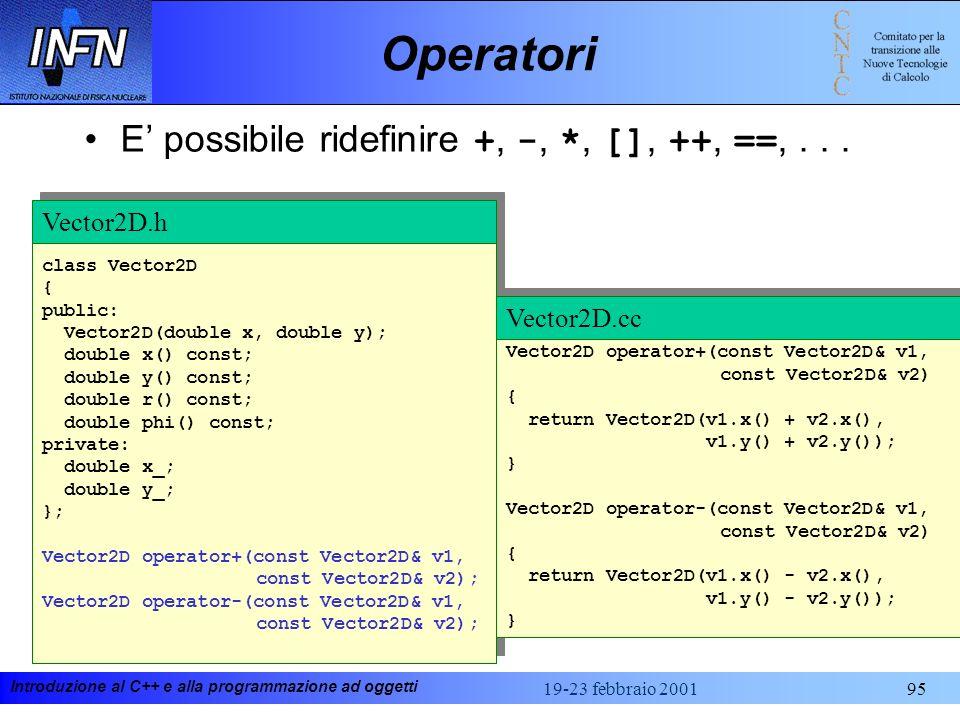 Operatori E' possibile ridefinire +, -, *, [], ++, ==, . . .